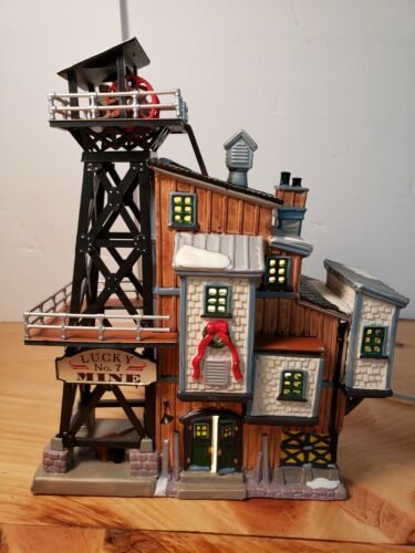 "2001 LEMAX Harvest Crossing Village  ""LUCKY No.7 MINE""  Lighted House Christmas"