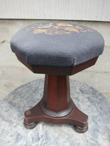 Early? Empire? Organ Piano Stool Wood Swivel Adjustable Needlepoint Seat