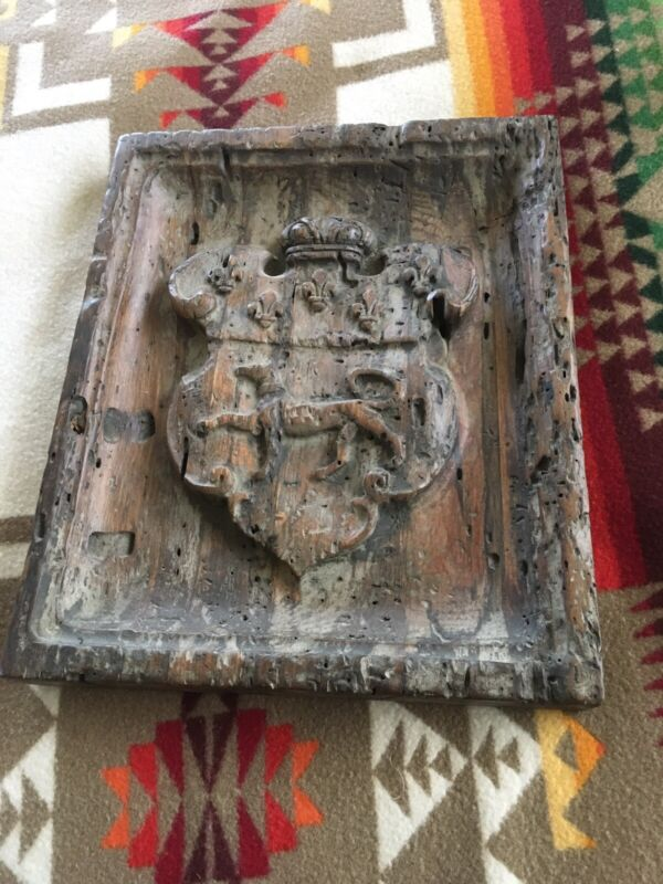 Vintage Spanish Revival / Rustic French  Carved Wooden Family Crest Shield
