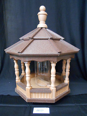 Poly Bird Feeder Amish Gazebo Handcrafted Homemade Cedar & Brown Roof