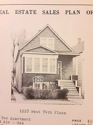 1950 Vintage Old Home House For Sale Realtor Listing CHICAGO Realty Flyer Ad