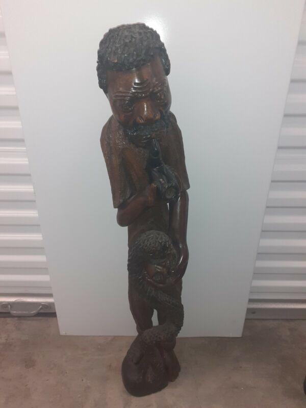 Papa Legba Haitian Statue - Solid  Wood Sculpture