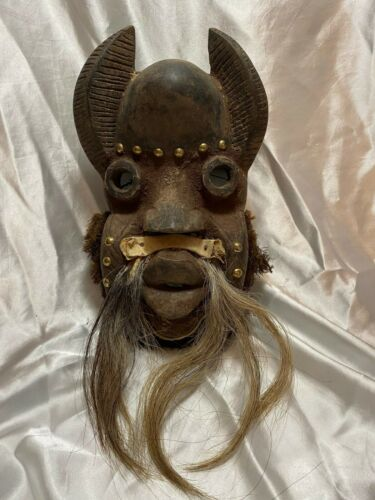Carved African Volta Horned Tribal Mask hair skin FREE SHIPPING wood wooden