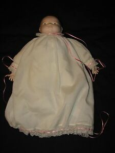 Baby-Doll-HANDMADE-White-Christianing-Gown-Girl-Pink-OOAK-One-of-a-Kind-Dress-F