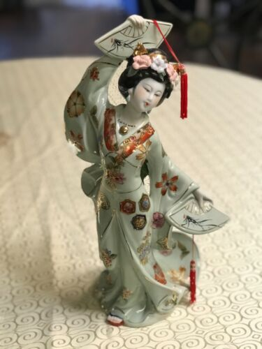 "Vintage Geisha Porcelain Oriental Statue, Hand Painted Collectible 16"""