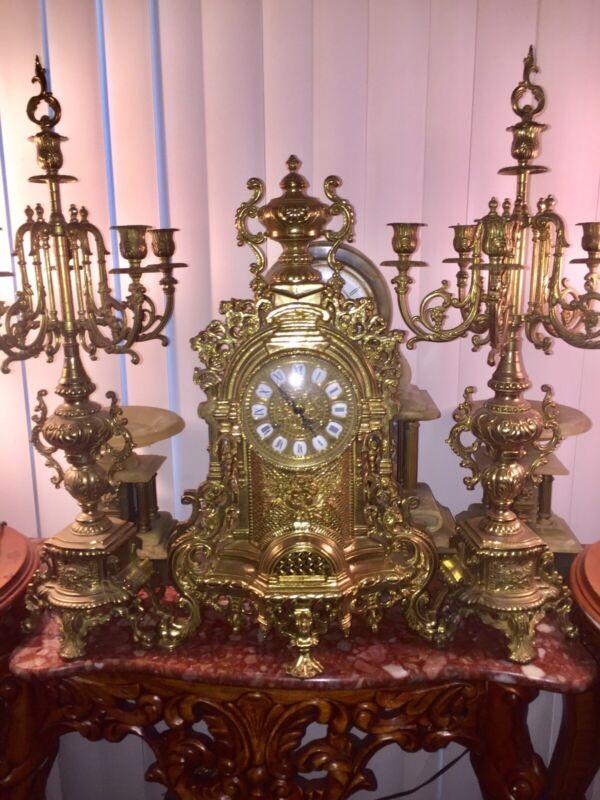 Italian antique Large Bronze  clock And Candelabras