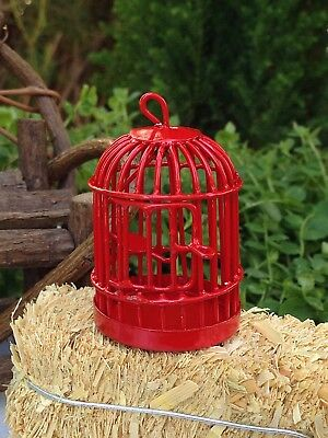 Miniature Dollhouse FAIRY GARDEN Accessories ~ Red Metal Bird Cage ~ NEW