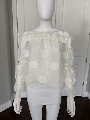ALEXIS White Sheer Bardot Off Shoulder Blouse Top XS Lightly Worn!