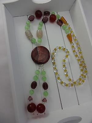 la rot grün gelb, Glas und Edelstein Mix (Lila Und Gelb Halskette)