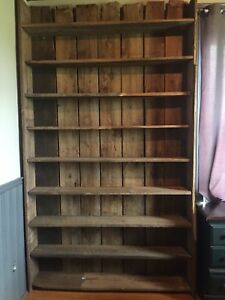 Genuine barn board book case