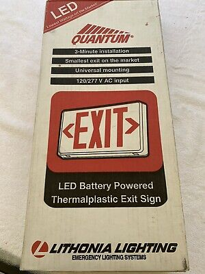 Lithonia Led Exit Sign With Battery Emergency Lighting System New In Box