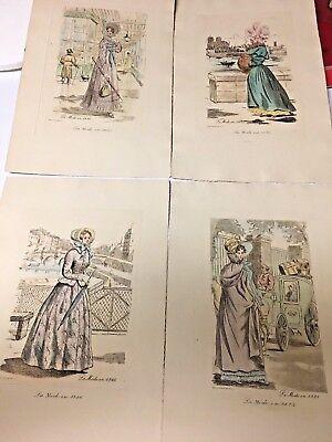4 Antique Print Etching  Henri Boutet 1820 to 1830 La mode Fashion