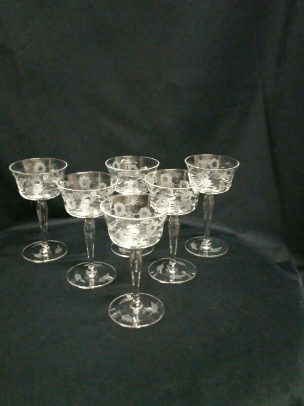 Antique Champagne/Cordial Crystal Etched With Dasies and Leaf on Base set of 6