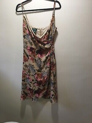 Ralph Lauren 8 Wrap Silk Dark Floral Dress
