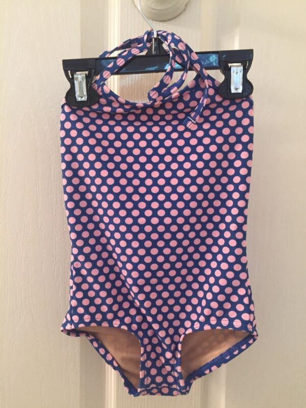 Toobydoo Halter Swimsuit One Piece Blue Pink Polka Dots Girls Size 1-2 Years