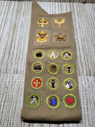 Vintage Boy Scouts sash with patches and 2 pins