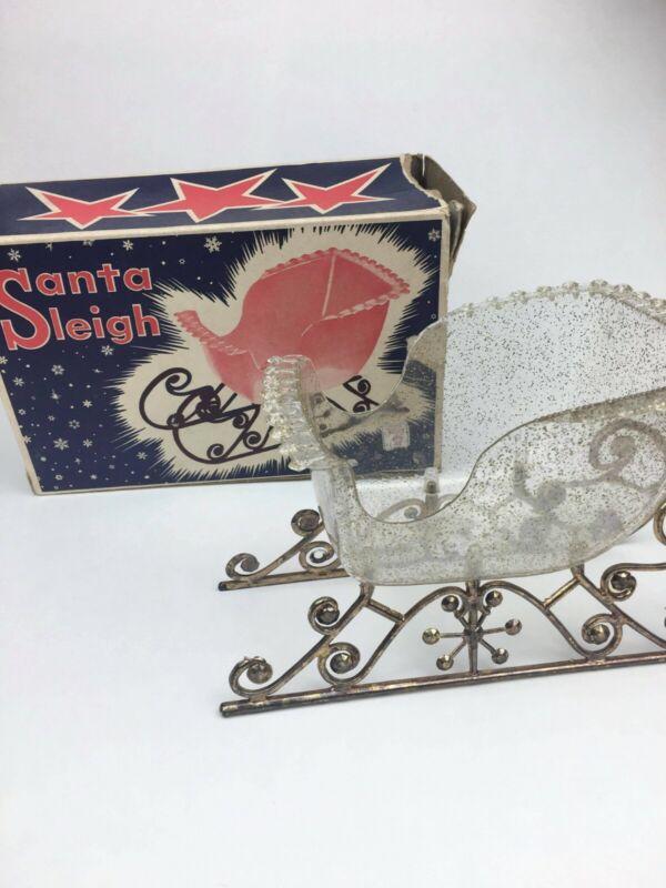 Vintage Clear Acrylic Glitter Plastic Santa Sleigh Holiday Decor MCM
