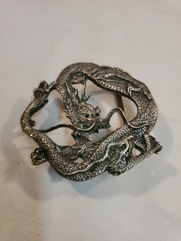 RARE 1981 Barry Kieselstein Cord Sterling Silver Dragon  Belt Buckle Signed