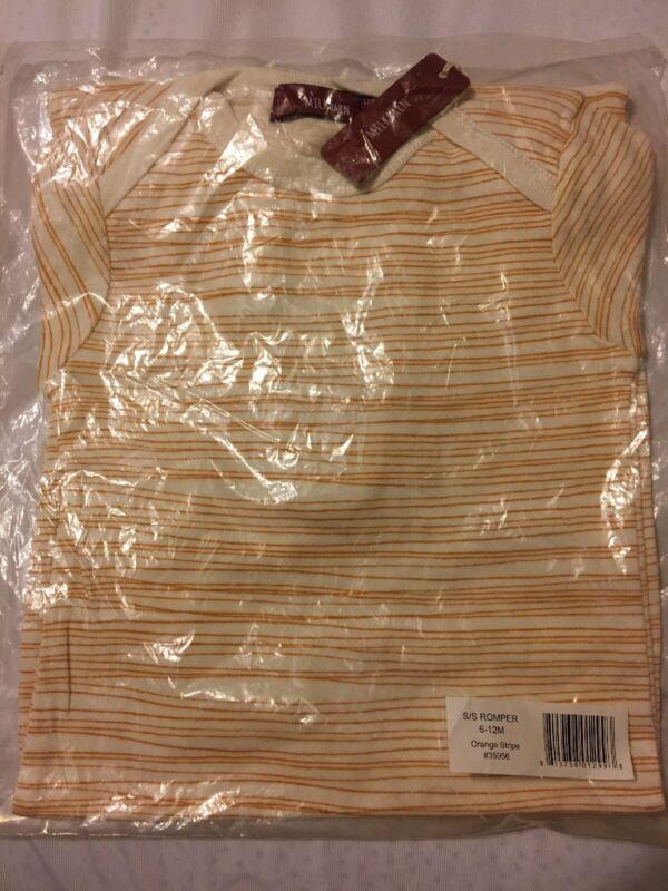 Milkbarn Short Sleeve Romper Orange Stripe 6-12 Month