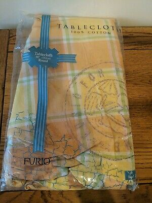 "FURIO Jasmine Summer Plaid Linen 60"" Round Tablecloth Cotton Multicolor Pastel"