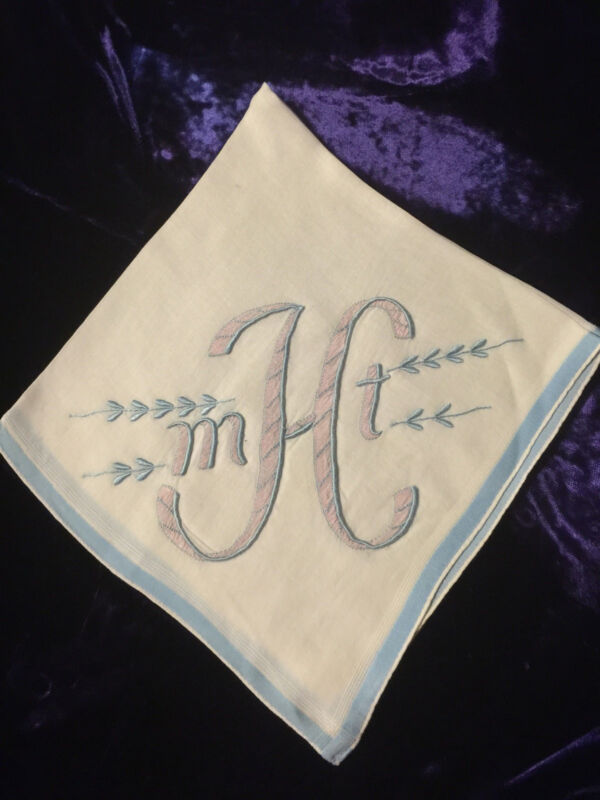 VINTAGE LINEN HANDKERCHIEF BRIDAL WEDDING White  with BLUE Pink  MTH MONOGRAM