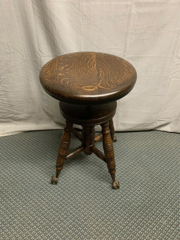 Antique Quartered Dark Oak Piano Stool Ball and Claw Feet Restored