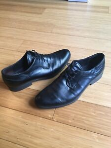 NICOLA BENSON MENS SIZE 9.5 ITALIAN LEATHER DRESS SHOES BLACK