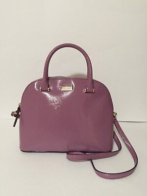 $359 NWT KATE SPADE CARLI RUM RAISIN BIXBY PLACE PATENT LEATHER SATCHEL BAG