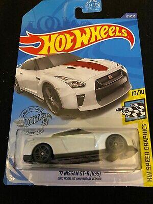 2020 Hot Wheels #137  17 Nissan GT-R (R35) #137 White 50th Ann Version New Mint