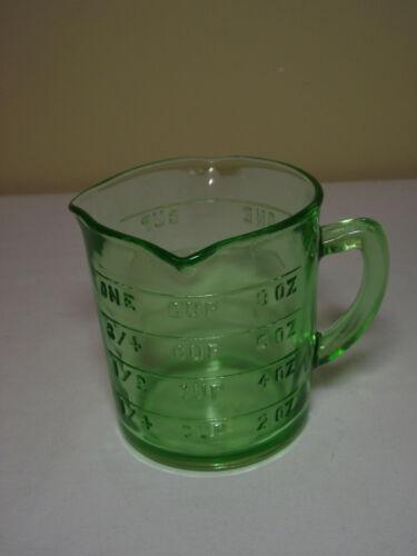 Hazel Atlas Uranium Green Depression Glass Measuring Cup Kelloggs Logo 3 Spout