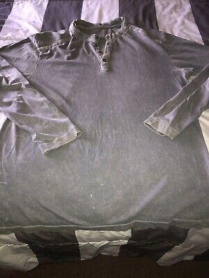 Affliction Buckle Mens Gray Long Sleeve Henley Tshirt Sz XL