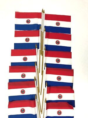 Small Country Flags (Paraguay  Small 4 X 6 Inch  Country Stick Flags Banner with 10 Inch Plastic)