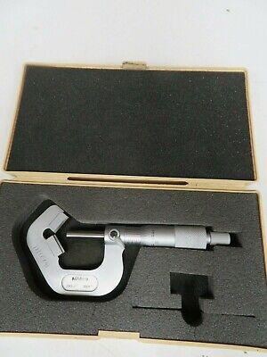 Mitutoyo - Model 114-135 - 0.93 -1 .0001 - V-anvil Micrometer W Case - Od4
