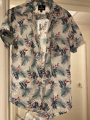 Threadbare Denim Corps Vintage Crafted Short Sleeved Shirt Hawaiian Medium Mens