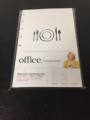 Martha Stewart Discbound Notebook Inserts Entertaining Blank Filler Pages5.5x8.5