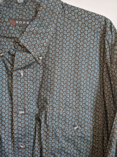 MENS Western SHIRT  by ROPER size EXTRA LARGE Green Blue Brown Paisley NWT