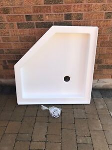 Brand new Neo angle shower base and wall