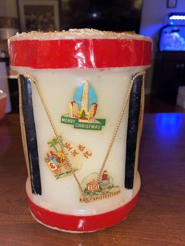 Vintage CHRISTMAS DrUm CANDLE Penn Wax Works Original Box 1950s