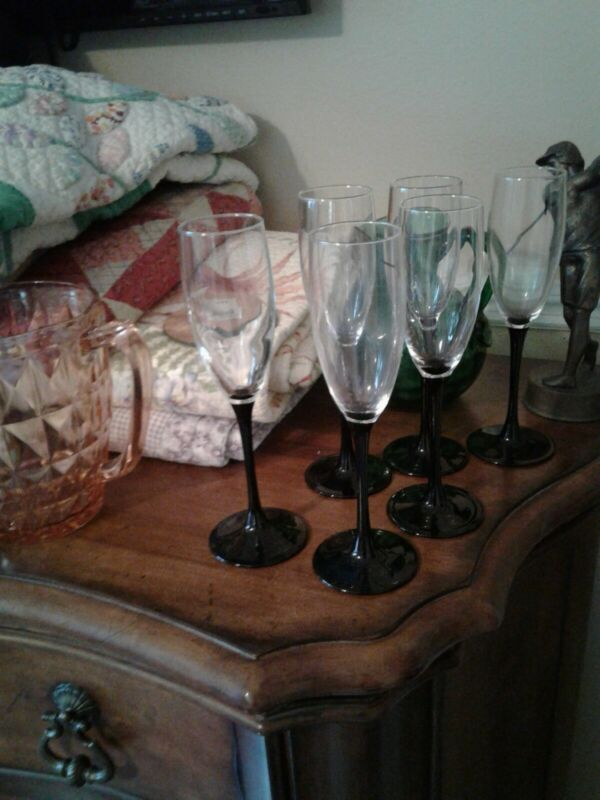 """Set of 8 LUMINARC BLACK Stemmed Stem CHAMPAGNE FLUTES WINE Glasses 8 6/8"""""""