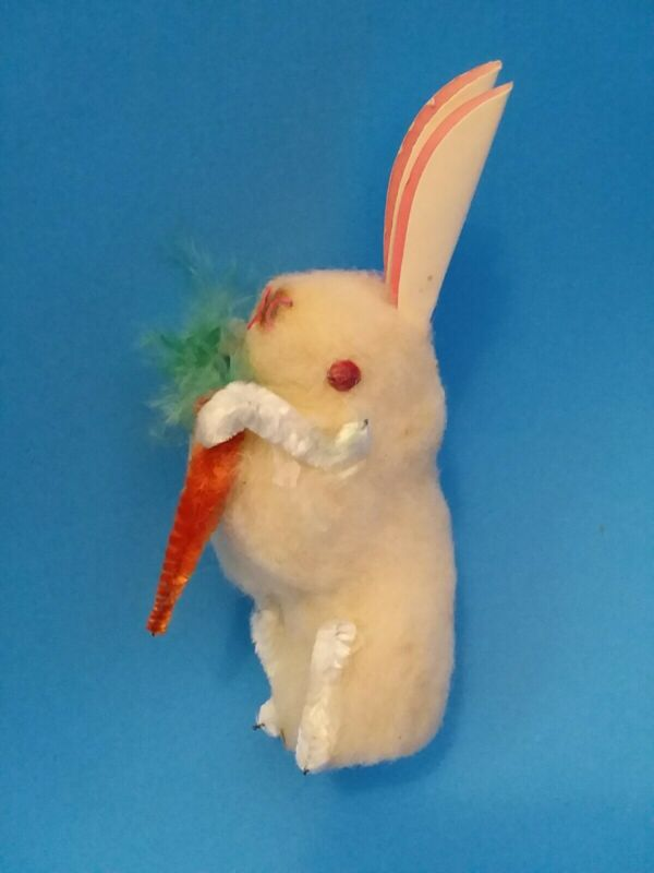 """Antique Spun Cotton Easter Bunny With Carrot Made In Japan 3"""" - Near Mint"""