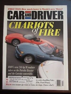 Car & Driver Magazine March 1998 Chariots BMW Roadster Porsche Boxster Z O Z4 Car And Driver Bmw Z4