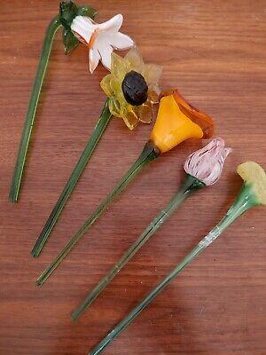 Art Glass Stem Flowers Lot Of 5