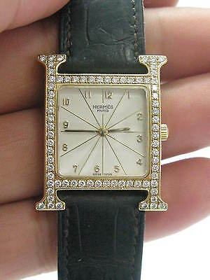 Hermes 18Kt H Large Diamond Yellow Gold Watch HH1.586
