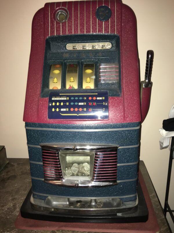 Vintage Mills Jewel Bell High Top slot machine 5 cent original works perfect