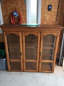 Brown wooden frame glass door cabinet