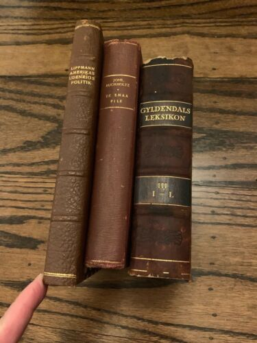 Lot Danish Books brown & Gold Leather Spine  Staging/Decor Marble Books