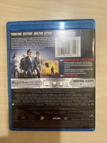 Mission Impossible - Ghost Protocol Blu-ray Only, 2011 With Slip Cover - $5.75