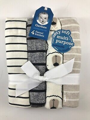 Gerber Baby 4-Pack Flannel Receiving Blankets - Bears And Stripes, Neutral Tones