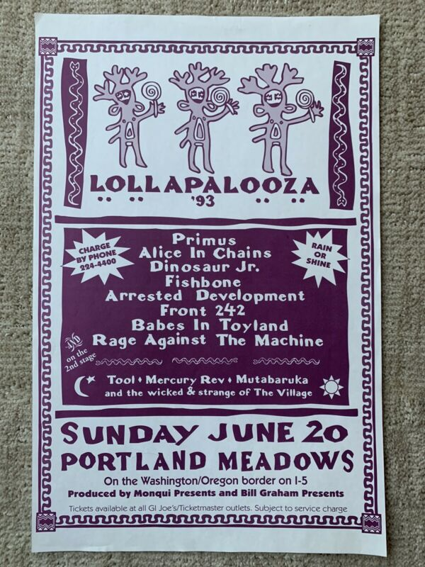 "Original 1993 Lollapalooza Concert Flyer 11X17"" RATM Alice in Chains TOOL Primus"