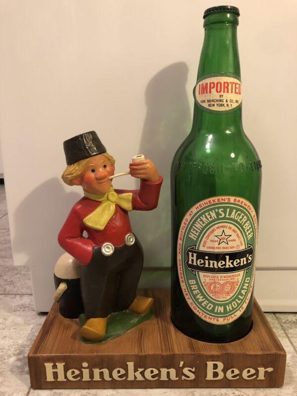 Vintage Heineken Beer Sign figure statue bar display, large 18 inch dutch boy